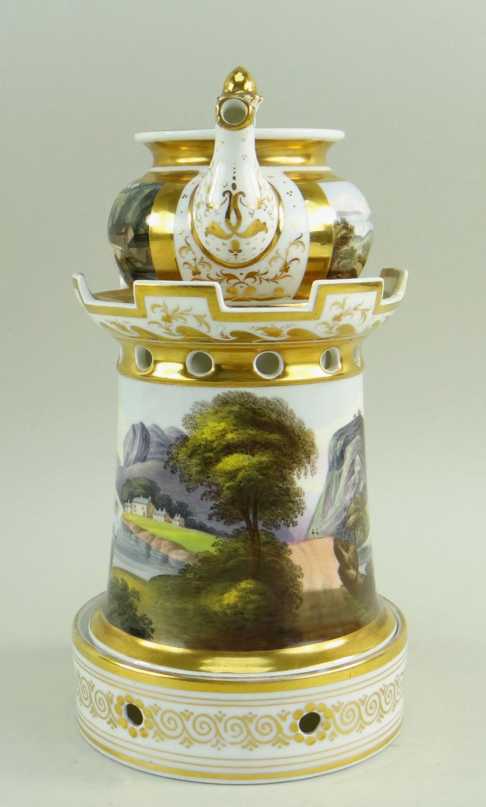 A WELSH LANDSCAPE ENGLISH PORCELAIN VEILLEUSE (tea-pot and warming stand) comprising miniature - Image 2 of 5