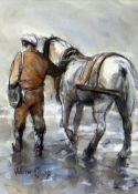 VALERIE GANZ mixed media - colliery-worker with pony, entitled verso on Attic Gallery Swansea