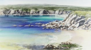 NAOMI TYDEMAN watercolour - view over cliff top at Barafundle Bay, signed, 30 x 53cms Provenance: