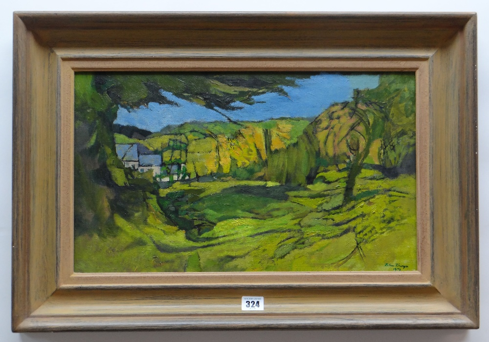 JOHN ELWYN oil on canvas - disused quarry in landscape, signed and dated 1979 lower right and verso, - Image 2 of 2