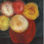 VIVIENNE WILLIAMS mixed media - still life of roses in a red bowl, entitled verso on Martin Tinney