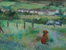 EDWARD LEWIS (1936-2018) oil on canvas - seated dog looking across the valley, entitled verso '