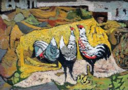 JOHN ELWYN oil on board - colourful chickens in a farmyard with buildings in the background,