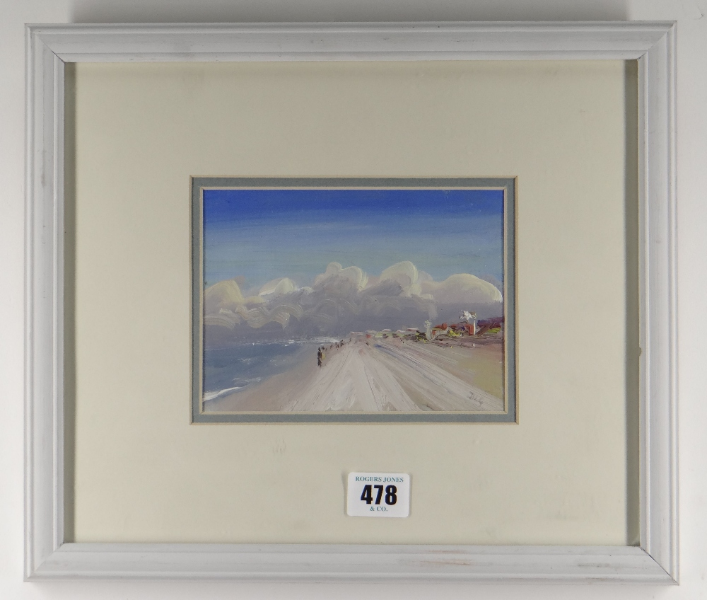 DAVID LLOYD GRIFFITH oil on card - entitled verso 'Pensarn Beach', signed with initials, 11 x 15. - Image 2 of 2