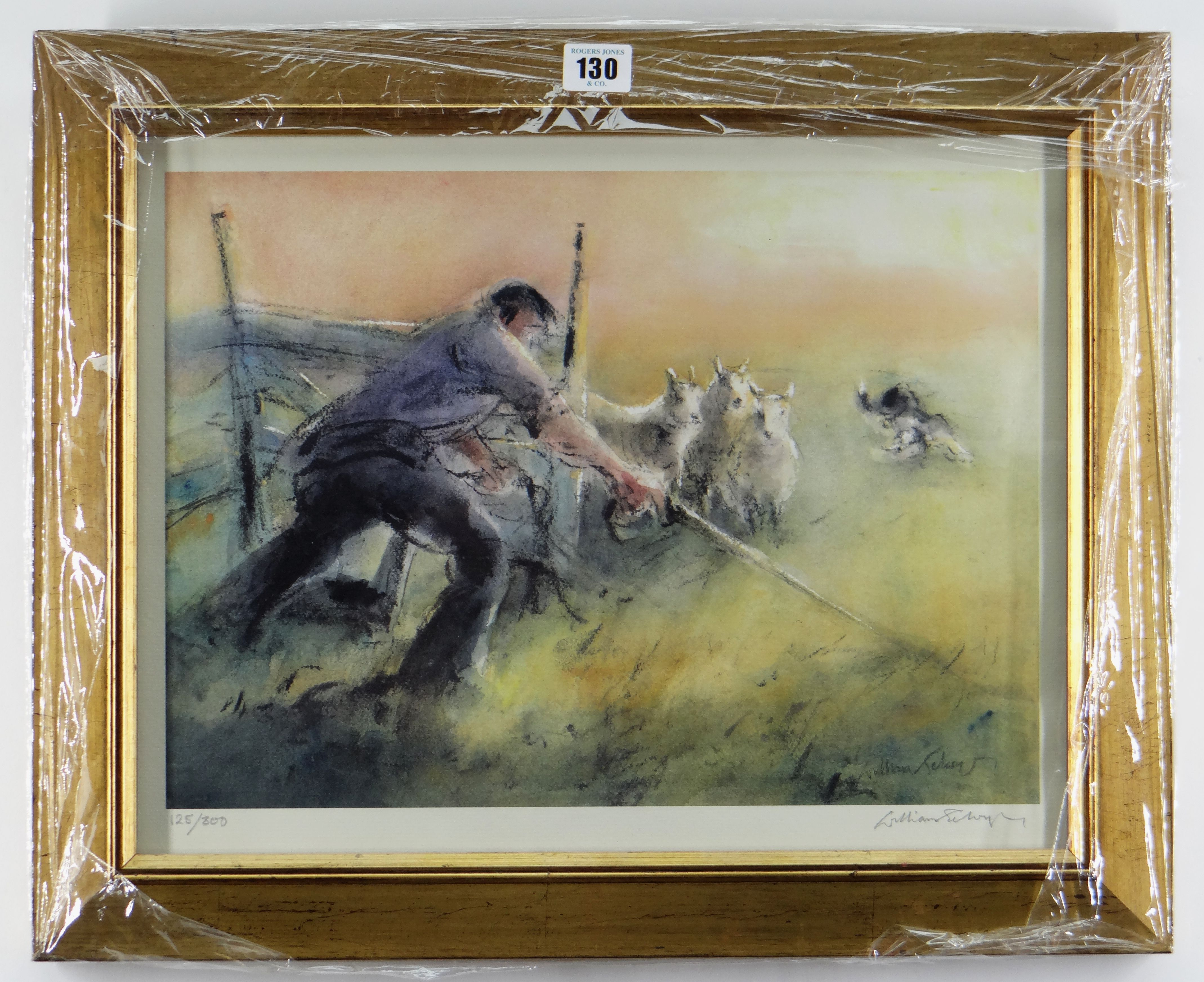 WILLIAM SELWYN limited edition (125/300) colour print - shepherd, signed fully in pencil, 34 x - Image 2 of 2