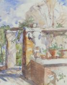 SIR FRANK BRANGWYN RA watercolour and ink on note paper - title verso 'Colonnade with Pots and