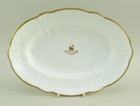 A SWANSEA PORCELAIN OVAL DISH WITH CREST 'Duw ar fy Rhan', of lobed form with typical moulding of