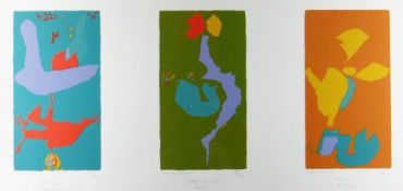 ERIC MALTHOUSE limited edition (5/20) triptych lithograph - entitled 'The Wounded Soul', 'Flowers'