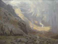 DAVID WOODFORD oil on canvas - southern Eryri landscape with gorse fires below the crags at Craig