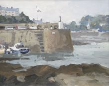 GARETH THOMAS oil on board - Welsh harbour scene, entitled verso 'Cemaes Bay', signed, 23.5 x
