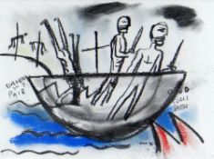 IWAN BALA pastel - satirical illustration relating to the loss of Welsh language, signed and dated