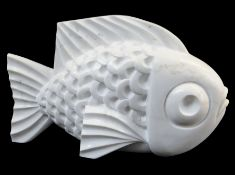 DARREN YEADON carrara marble sculpture - fish, 38cms high Provenance: consigned by artist via our