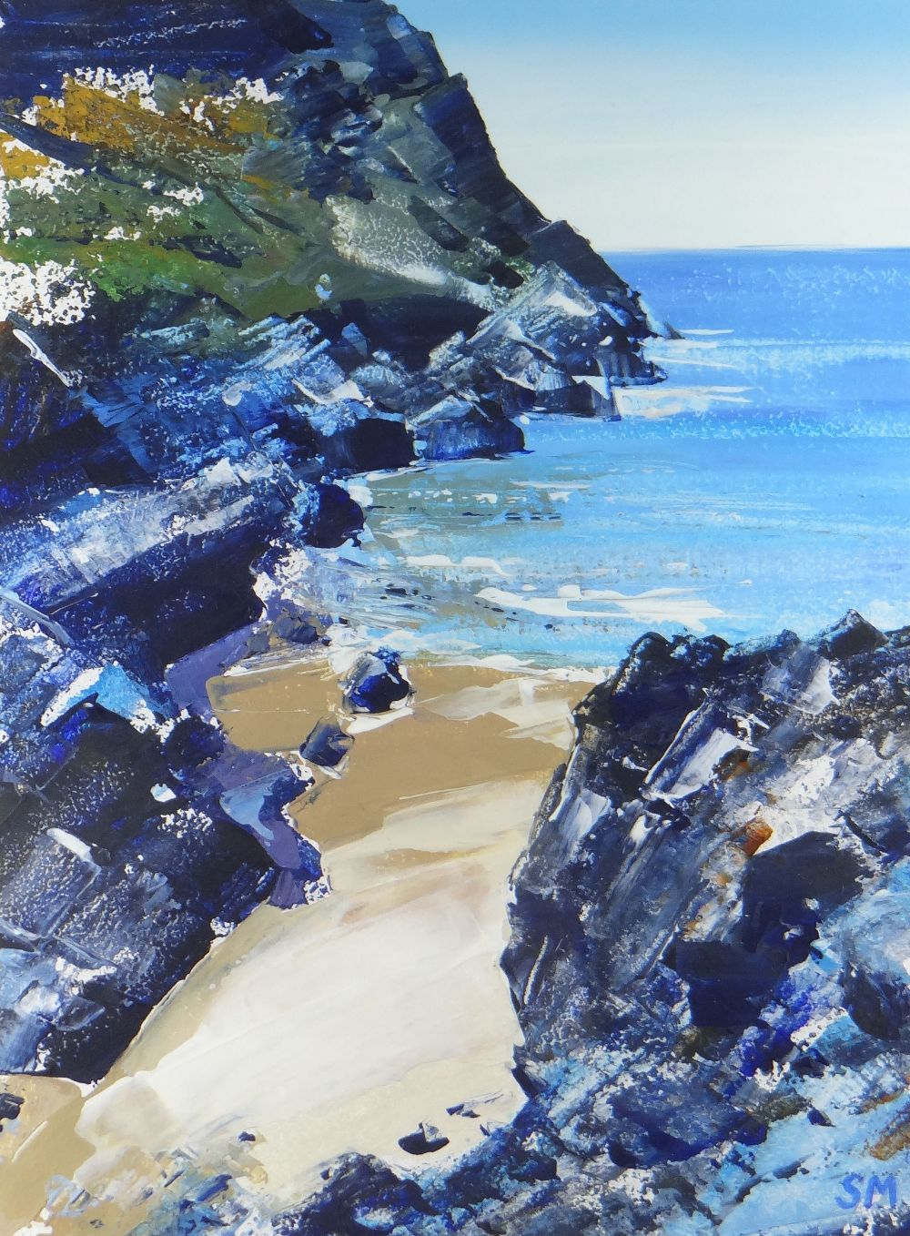 SIAN MCGILL oil - sandy cove with rocky cliffs, entitled verso on Albany Gallery label 'Mewslade,