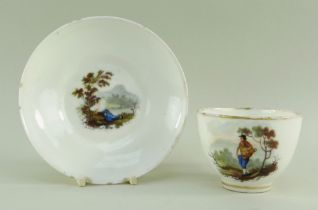 A SWANSEA GLASSY PORCELAIN CUP & SAUCER BY WILLIAM BILLINGSLEY the saucer painted with a scene of