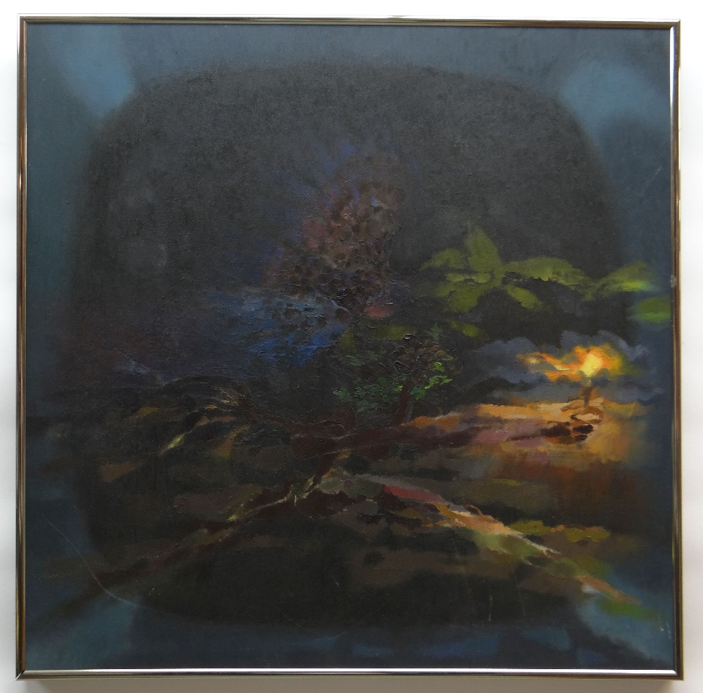 GLYN MORGAN oil on canvas - Greek mythology, entitled verso 'Maenad and Owl in the Forest', - Image 2 of 2
