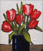 DAVID BARNES oil on board - still-life of tulips in a blue jar, signed with initials, 29 x 24cms