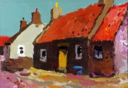 DONALD MCINTYRE acrylic - entitled verso 'Cottages Cullen No.6', signed verso to label, 17 x 26cms
