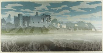 BERNARD GREEN limited edition (4/60) linocut - entitled in pencil 'Laugharne Castle & Dylan Thomas's