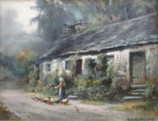 HENRY HADFIELD CUBLEY oil on canvas - figure feeding poultry beside Welsh cottage, entitled verso '