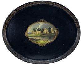 A GOOD EARLY 19TH CENTURY PONTYPOOL WARE OVAL TIN TRAY having a centred painting of a view of 'Neath