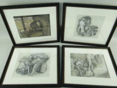 CHARLES FREDERICK TUNNICLIFFE OBE RA (1901-1979) pencil and mixed media - four illustrations of