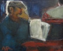 WILL ROBERTS oil on canvas - entitled verso 'Men With Newspapers', signed with initial lower left