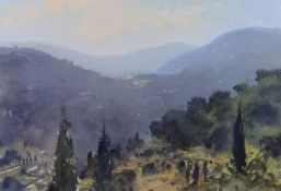 GARETH THOMAS pastel and watercolour - titled verso 'Near Claviers - Evening', signed, 25 x 37cms