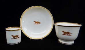 NANTGARW PORCELAIN CRESTED OVERSIZE BREAKFAST CUP & SAUCER together with a coffee-can from the