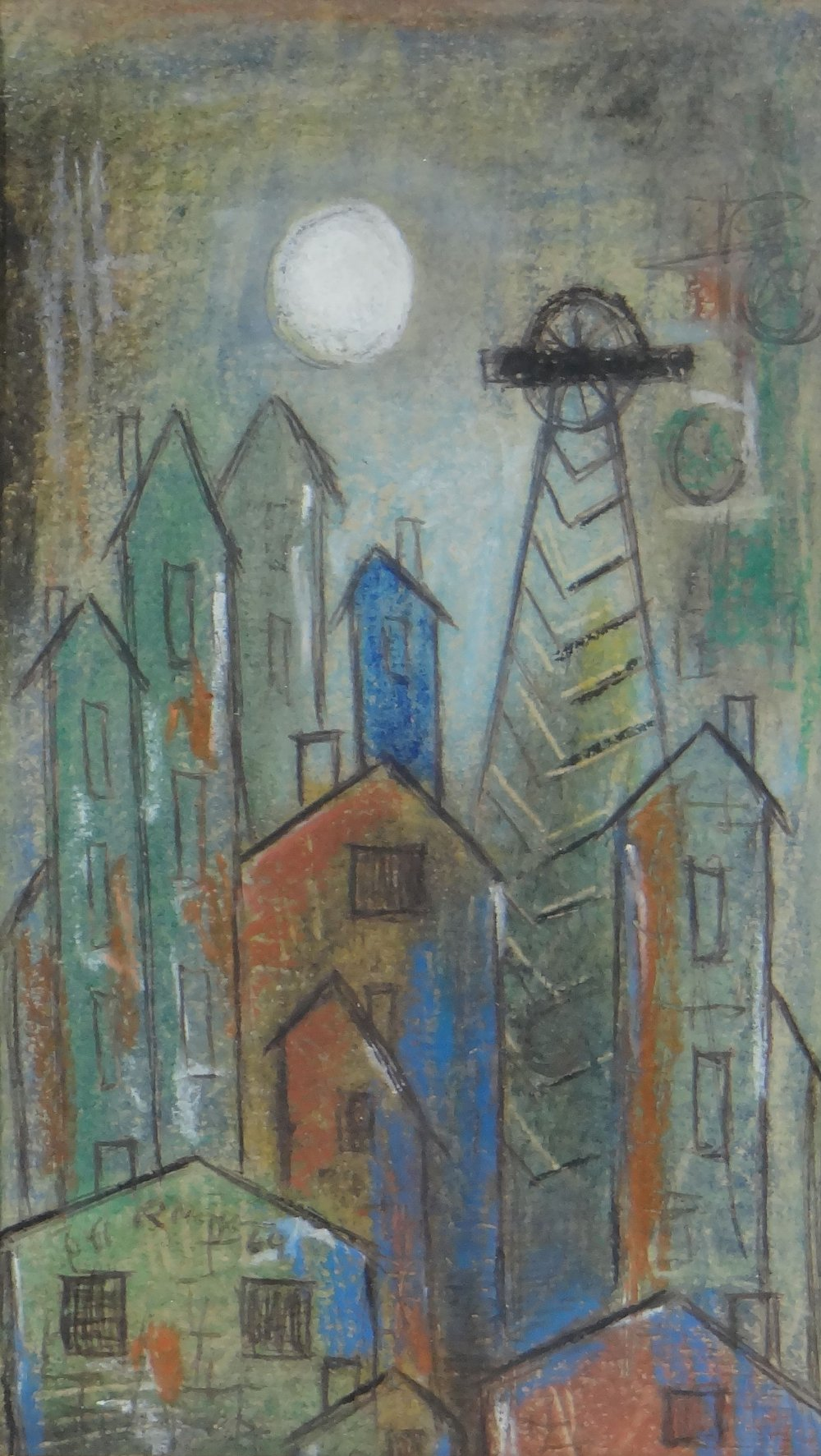 ROBERT MORGAN wax crayon drawing - entitled 'Pit Buildings No.1', signed and dated 1960, with