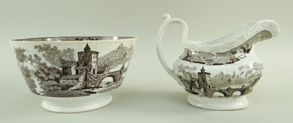 GLAMORGAN POTTERY PART TEA SERVICE IN THE BRIDGE & TOWER TRANSFER printed in brown, comprising - Image 4 of 6