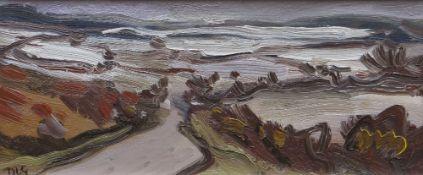 DAVID LLOYD GRIFFITH oil on panel - winter landscape with lane, entitled verso 'Dyffryn Ogwen',