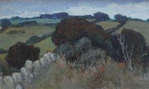 TOM GERRARD oil on board - Anglesey landscape, entitled 'Ffriddoedd', signed and dated verso 1966,