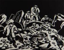 SIR KYFFIN WILLIAMS RA Gwasg Gregynog linocut - entitled 'Hunting the Fox', 30 x 38cms Provenance: