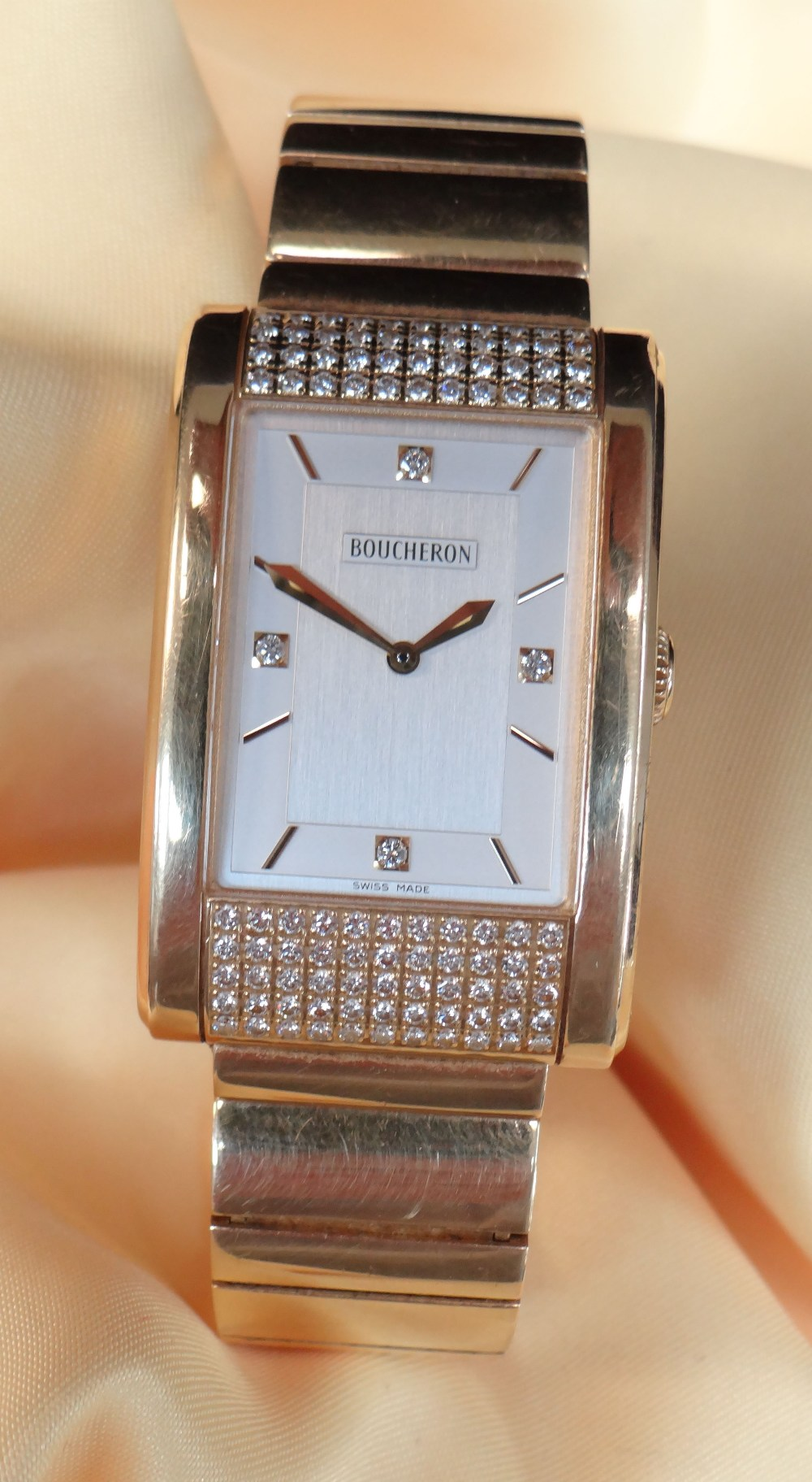BOUCHERON 18K GOLD & DIAMOND GENTLEMAN'S 'REFLET' BRACELET WATCH, the signed, rectangular two-tone