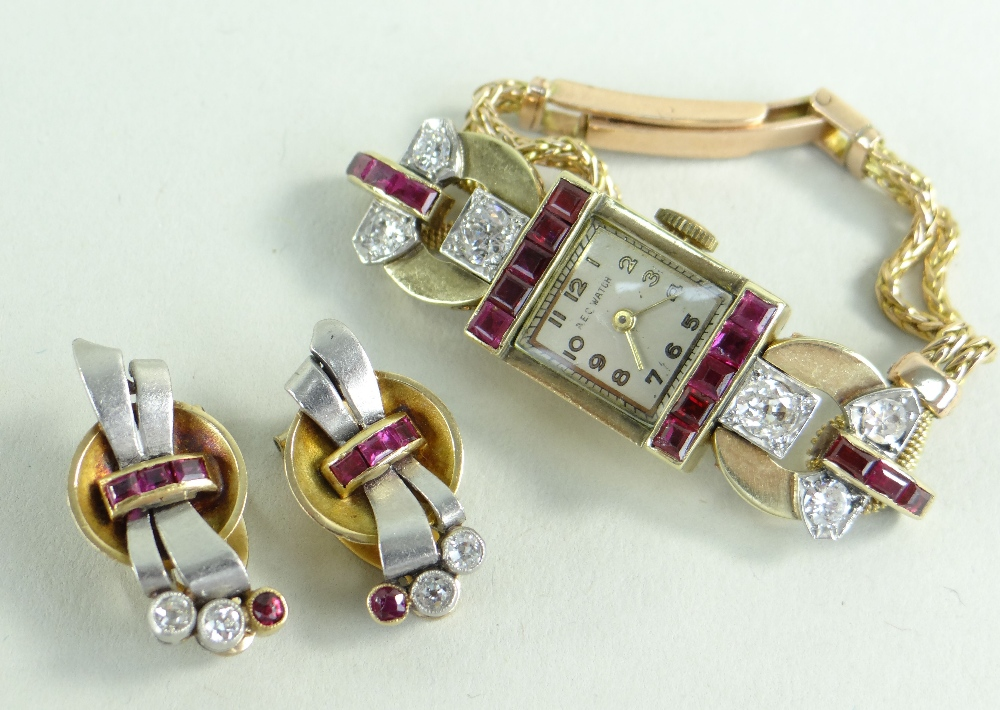 YELLOW METAL DIAMOND & RUBY SET COCKTAIL WATCH, the dial marked 'A E C Watch', set with a border - Image 2 of 2