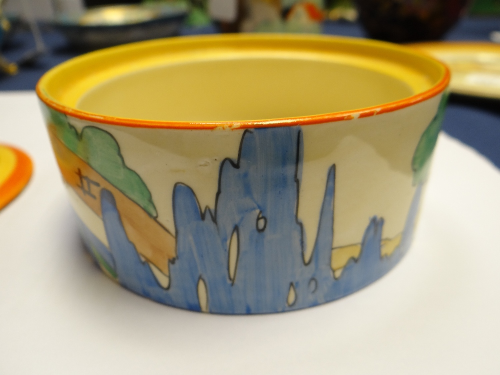 THREE CLARICE CLIFF ITEMS comprising 'Forest Glen' preserve jar & cover, 7.5cms high; 'Coral Firs' - Image 37 of 40