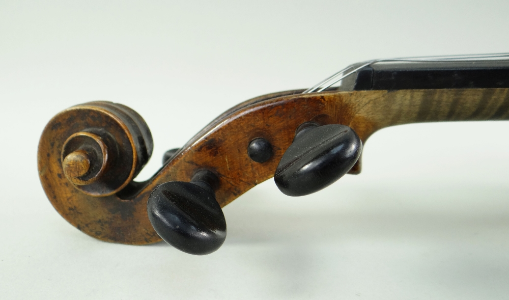 KLINGENTHAL SCHOOL VIOLIN, circa late 18th/early 19th Century, LOB 359mms, two-piece back of faint - Image 3 of 9