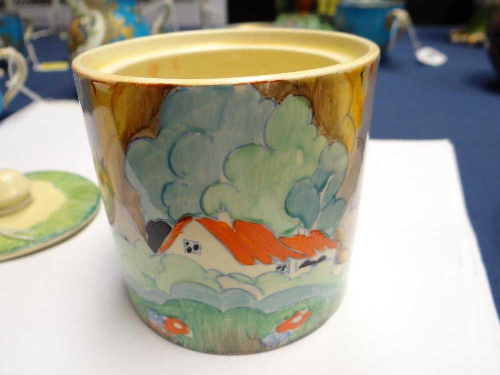 THREE CLARICE CLIFF ITEMS comprising 'Forest Glen' preserve jar & cover, 7.5cms high; 'Coral Firs' - Image 18 of 40