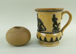 RARE DOULTON LAMBETH RUGBY ITEMS comprising novelty table vesta modelled as a rugby ball with