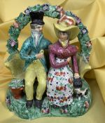 19TH CENTURY SHERRATT TYPE STAFFORDSHIRE PEARLWARE FIGURAL GROUP, 'The Proposal' or 'Courtship',