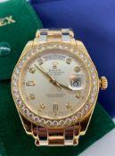 FINE & RARE ROLEX 18K THREE COLOUR GOLD & DIAMOND AUTOMATIC CALENDAR BRACELET WATCH, Oyster