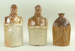 THREE DOULTON & WATTS SALT-GLAZED STONEWARE REFORM FLASKS comprising one modelled with characters '