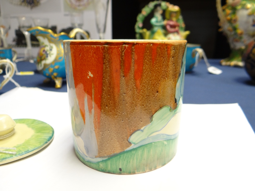 THREE CLARICE CLIFF ITEMS comprising 'Forest Glen' preserve jar & cover, 7.5cms high; 'Coral Firs' - Image 15 of 40
