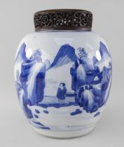 CHINESE BLUE & WHITE PORCELAIN 'SCHOLARS AND LANDSCAPE' JAR, Kangxi, of ovoid form, painted with a