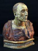 19TH CENTURY TERRACOTTA BUST OF ITALIAN POLITICIAN Niccolò da Uzzano (1359-1431) a politician of the