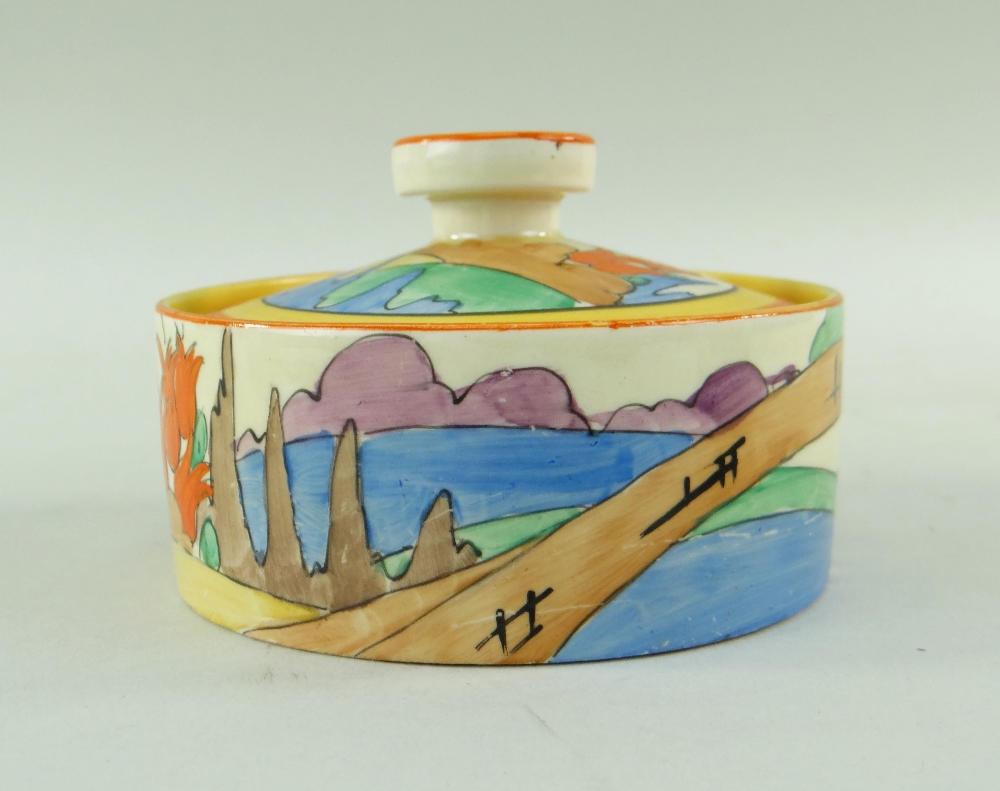 THREE CLARICE CLIFF ITEMS comprising 'Forest Glen' preserve jar & cover, 7.5cms high; 'Coral Firs' - Image 5 of 40