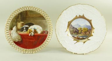 TWO ENGLISH BONE CHINA CABINET PLATES comprising (1) Royal Worcester plate 1875, painted by Robert