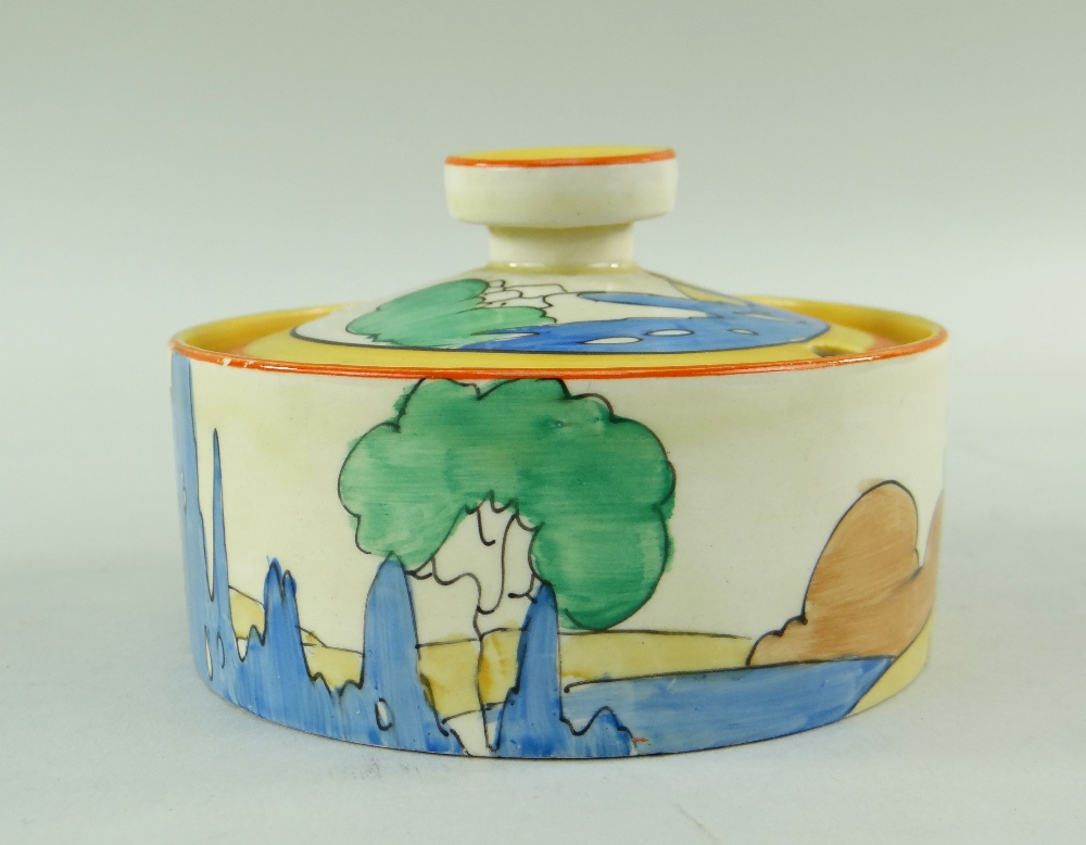 THREE CLARICE CLIFF ITEMS comprising 'Forest Glen' preserve jar & cover, 7.5cms high; 'Coral Firs' - Image 6 of 40