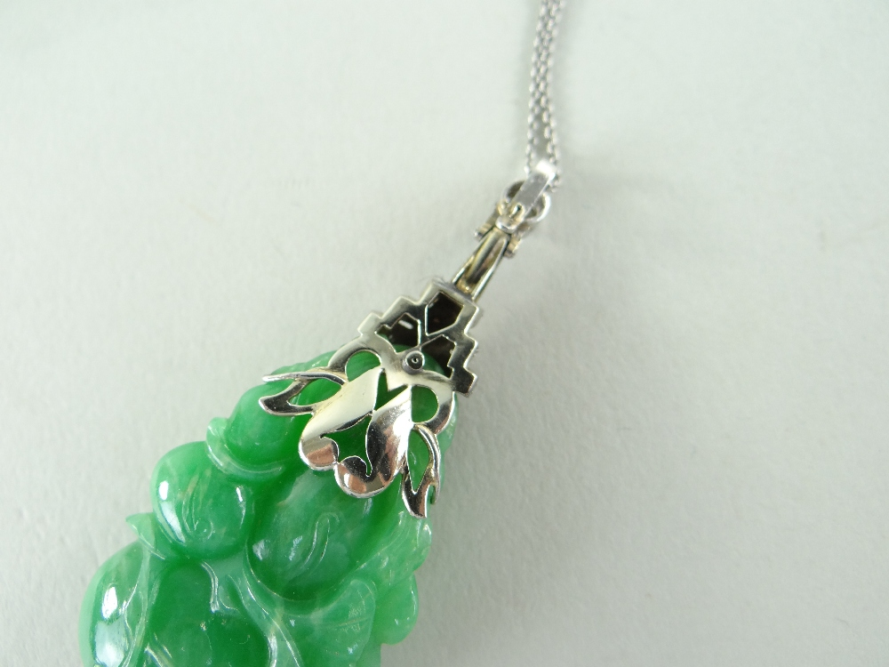 CARVED CHINESE JADEITE LEAFY GOURD PENDANT, later mounted with three rows of tiny diamonds and two - Image 15 of 16