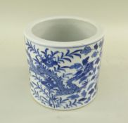 CHINESE BLUE & WHITE PORCELAIN BRUSHPOT, 19th/20th Century, painted with two confronting 5-clawed